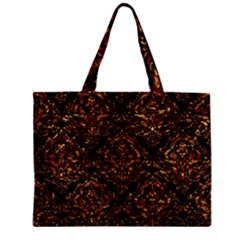 Damask1 Black Marble & Copper Foil Zipper Mini Tote Bag by trendistuff