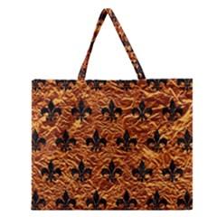 Royal1 Black Marble & Copper Foil Zipper Large Tote Bag by trendistuff