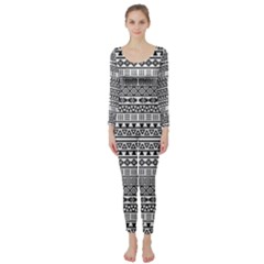 Aztec Influence Pattern Long Sleeve Catsuit by ValentinaDesign