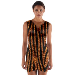 Skin4 Black Marble & Copper Foil Wrap Front Bodycon Dress by trendistuff