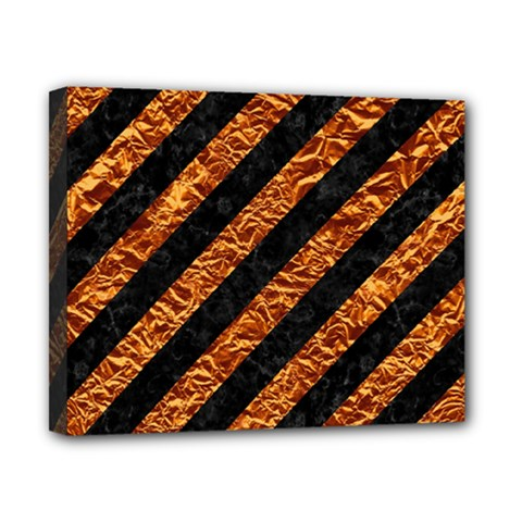 Stripes3 Black Marble & Copper Foil Canvas 10  X 8  by trendistuff