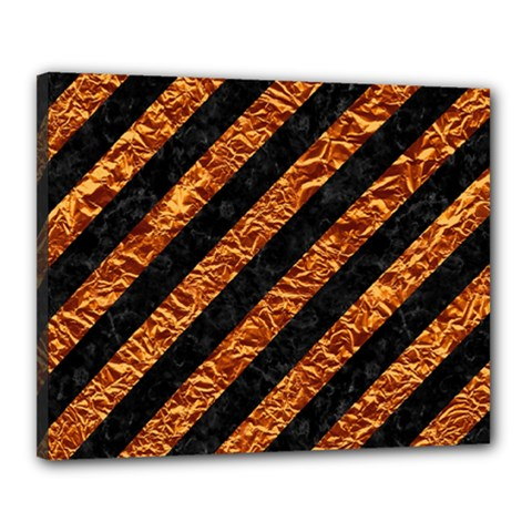 Stripes3 Black Marble & Copper Foil Canvas 20  X 16  by trendistuff