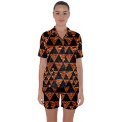 Triangle3 Black Marble & Copper Foil Satin Short Sleeve Pyjamas Set