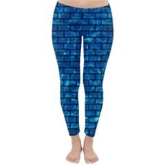 Brick1 Black Marble & Deep Blue Water (r) Classic Winter Leggings
