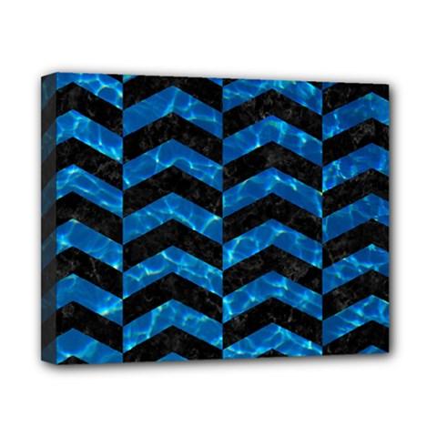 Chevron2 Black Marble & Deep Blue Water Canvas 10  X 8  by trendistuff