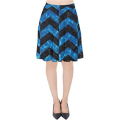 Chevron2 Black Marble & Deep Blue Water Velvet High Waist Skirt by trendistuff