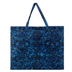 Damask2 Black Marble & Deep Blue Water (r) Zipper Large Tote Bag