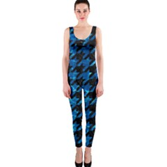 Houndstooth1 Black Marble & Deep Blue Water Onepiece Catsuit by trendistuff