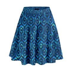 Hexagon1 Black Marble & Deep Blue Water (r) High Waist Skirt by trendistuff