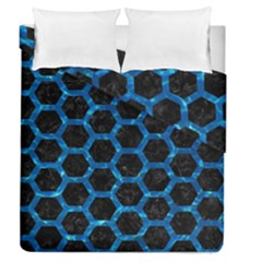 Hexagon2 Black Marble & Deep Blue Water Duvet Cover Double Side (queen Size) by trendistuff