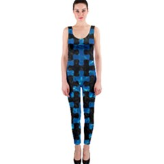 Puzzle1 Black Marble & Deep Blue Water Onepiece Catsuit by trendistuff