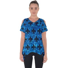 Royal1 Black Marble & Deep Blue Water Cut Out Side Drop Tee