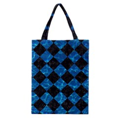Square2 Black Marble & Deep Blue Water Classic Tote Bag by trendistuff