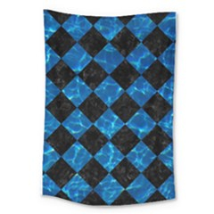 Square2 Black Marble & Deep Blue Water Large Tapestry by trendistuff