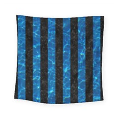 Stripes1 Black Marble & Deep Blue Water Square Tapestry (small) by trendistuff