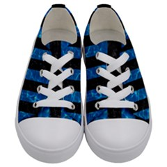 Stripes1 Black Marble & Deep Blue Water Kids  Low Top Canvas Sneakers