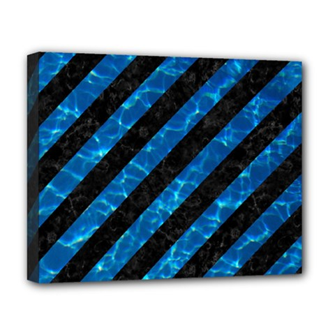 Stripes3 Black Marble & Deep Blue Water Deluxe Canvas 20  X 16   by trendistuff