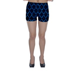 Tile1 Black Marble & Deep Blue Water Skinny Shorts by trendistuff