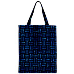 Woven1 Black Marble & Deep Blue Water Zipper Classic Tote Bag by trendistuff