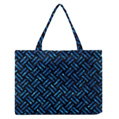 Woven2 Black Marble & Deep Blue Water Zipper Medium Tote Bag by trendistuff