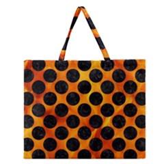 Circles2 Black Marble & Fire (r) Zipper Large Tote Bag by trendistuff