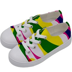 Anatomicalrainbow Wave Chevron Pink Blue Yellow Green Kids  Low Top Canvas Sneakers by Mariart
