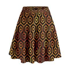 Hexagon1 Black Marble & Fire High Waist Skirt by trendistuff