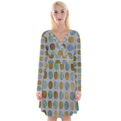 Green And Golden Dots Pattern                               Long Sleeve Front Wrap Dress