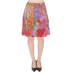 Colorful Watercolors Pattern                      Velvet High Waist Skirt by LalyLauraFLM