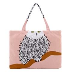 Animals Bird Owl Pink Polka Dots Medium Tote Bag by Mariart