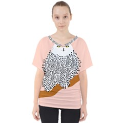 Animals Bird Owl Pink Polka Dots V Neck Dolman Drape Top by Mariart