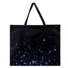 Blue Glowing Star Particle Random Motion Graphic Space Black Zipper Large Tote Bag by Mariart