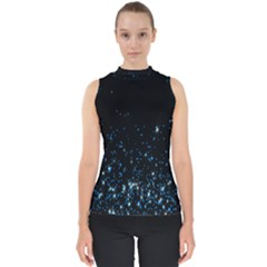 Blue Glowing Star Particle Random Motion Graphic Space Black Shell Top