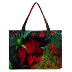 Flower Power, Wonderful Flowers, Vintage Design Zipper Medium Tote Bag by FantasyWorld7