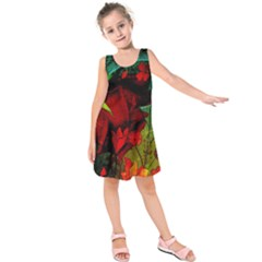 Flower Power, Wonderful Flowers, Vintage Design Kids  Sleeveless Dress by FantasyWorld7