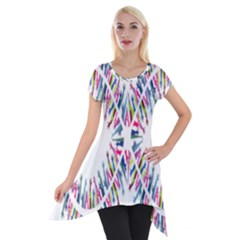 Free Symbol Hands Short Sleeve Side Drop Tunic by Mariart