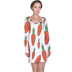 Fruit Vegetable Carrots Long Sleeve Nightdress by Mariart