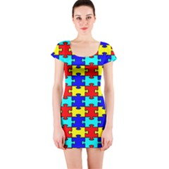 Game Puzzle Short Sleeve Bodycon Dress