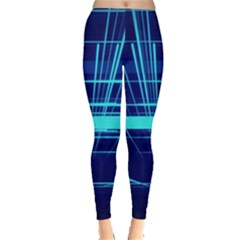 Grid Structure Blue Line Leggings  by Mariart