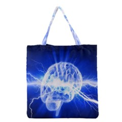 Lightning Brain Blue Grocery Tote Bag by Mariart