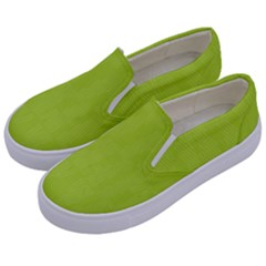Line Green Kids  Canvas Slip Ons by Mariart