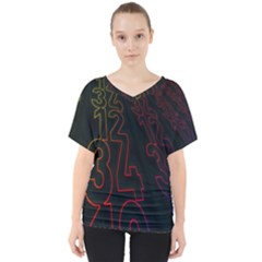 Neon Number V Neck Dolman Drape Top by Mariart