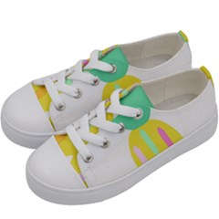 Pineapple Fruite Yellow Triangle Pink White Kids  Low Top Canvas Sneakers by Mariart