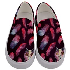 Boho Owl And Feather Pattern Men s Canvas Slip Ons
