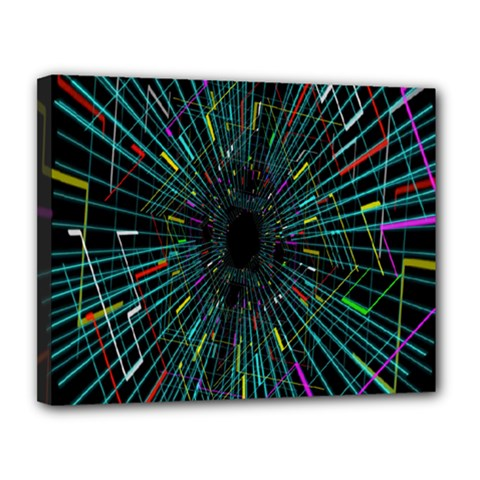 Colorful Geometric Electrical Line Block Grid Zooming Movement Canvas 14  X 11  by Mariart