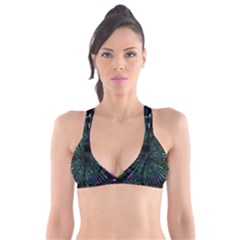 Colorful Geometric Electrical Line Block Grid Zooming Movement Plunge Bikini Top by Mariart