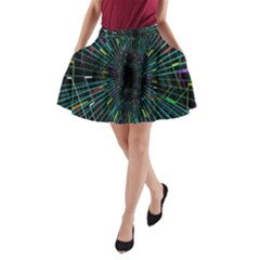 Colorful Geometric Electrical Line Block Grid Zooming Movement A Line Pocket Skirt by Mariart