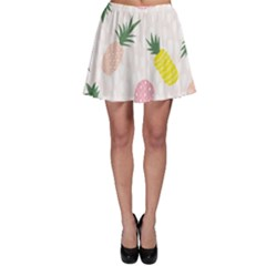 Pineapple Rainbow Fruite Pink Yellow Green Polka Dots Skater Skirt by Mariart