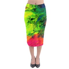 Neon Rainbow Green Pink Blue Red Painting Midi Pencil Skirt by Mariart