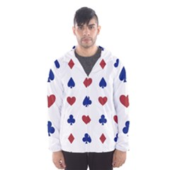 Playing Cards Hearts Diamonds Hooded Wind Breaker (men) by Mariart